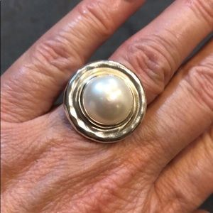 Silpada Pearl and Silver Ring